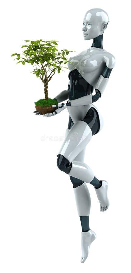 Robô com uma planta ilustração royalty free