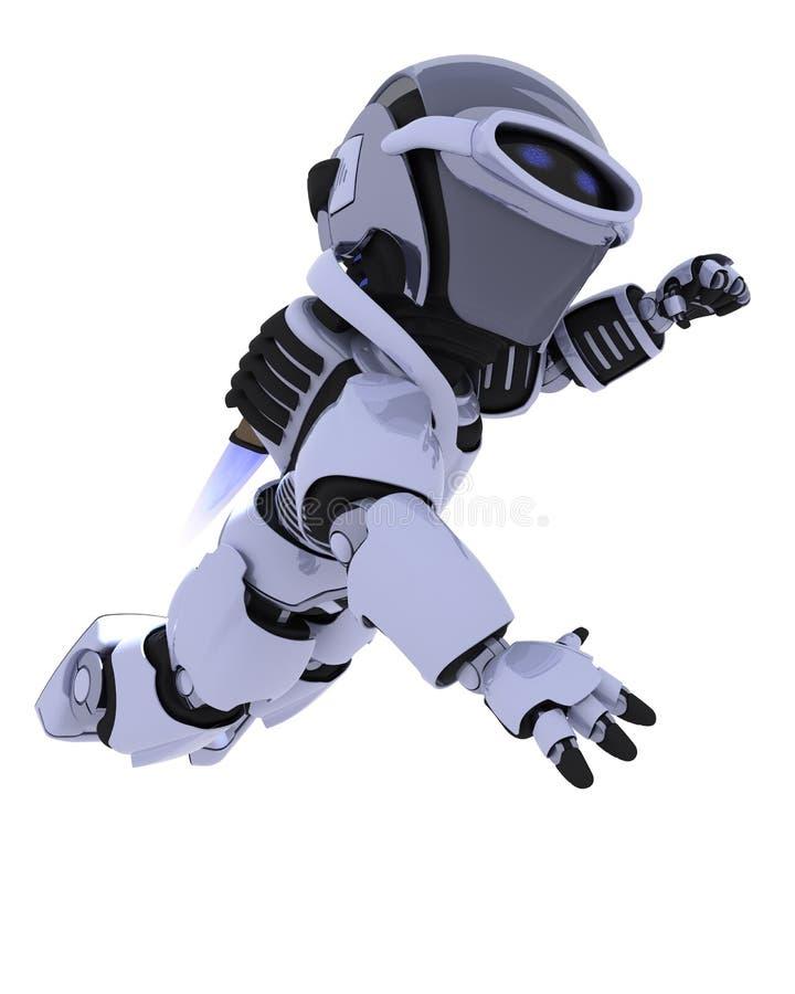 Robô com vôo do bloco do jato ilustração stock