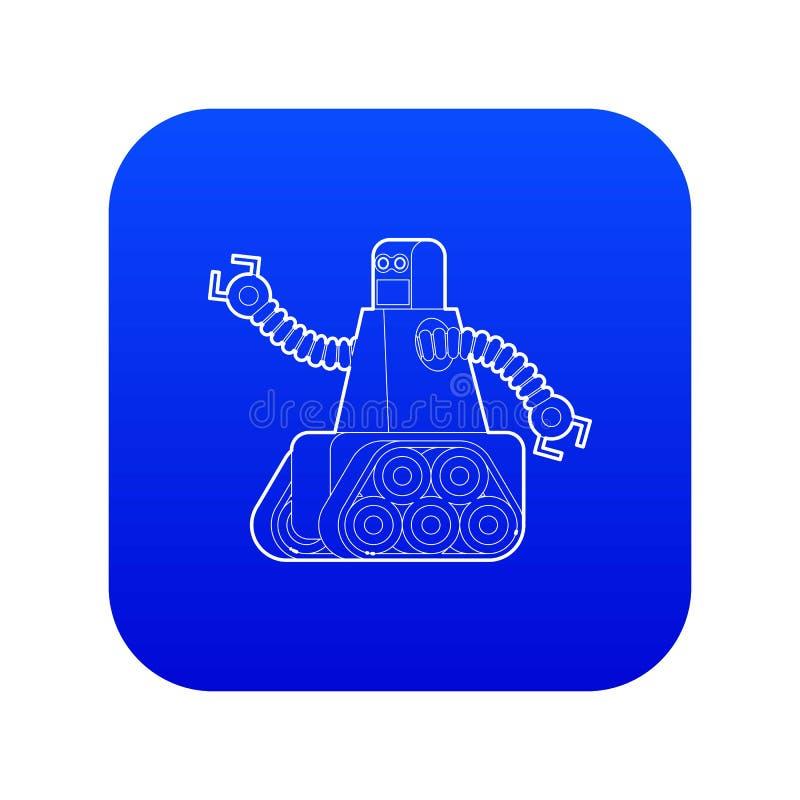 Robô com vetor azul do ícone da trilha de lagarta ilustração do vetor