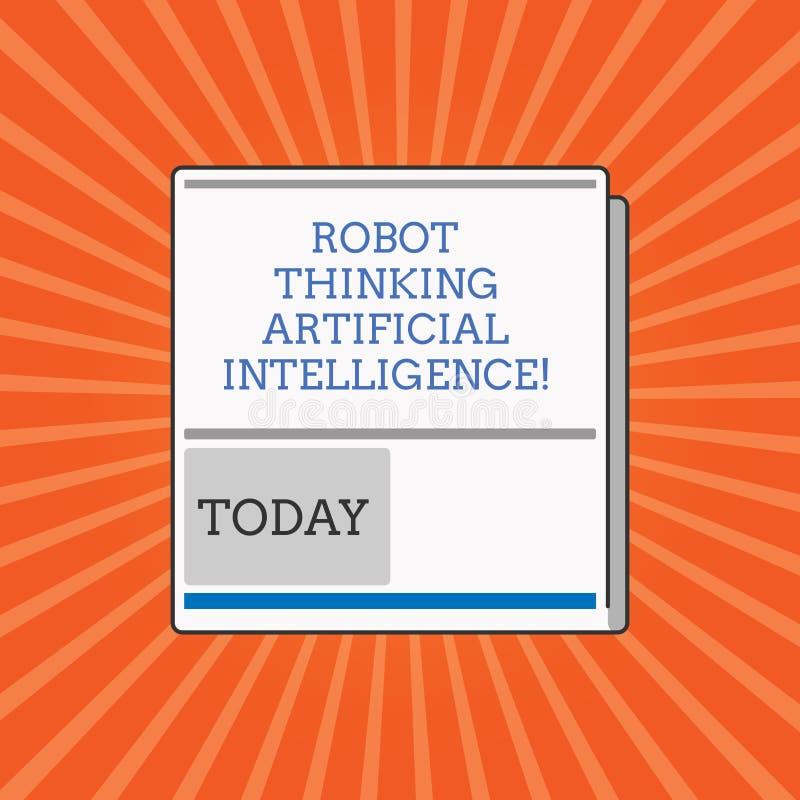 Robô conceptual da exibição da escrita da mão que pensa a inteligência artificial Foto do negócio que apresenta o bot futurista m imagem de stock
