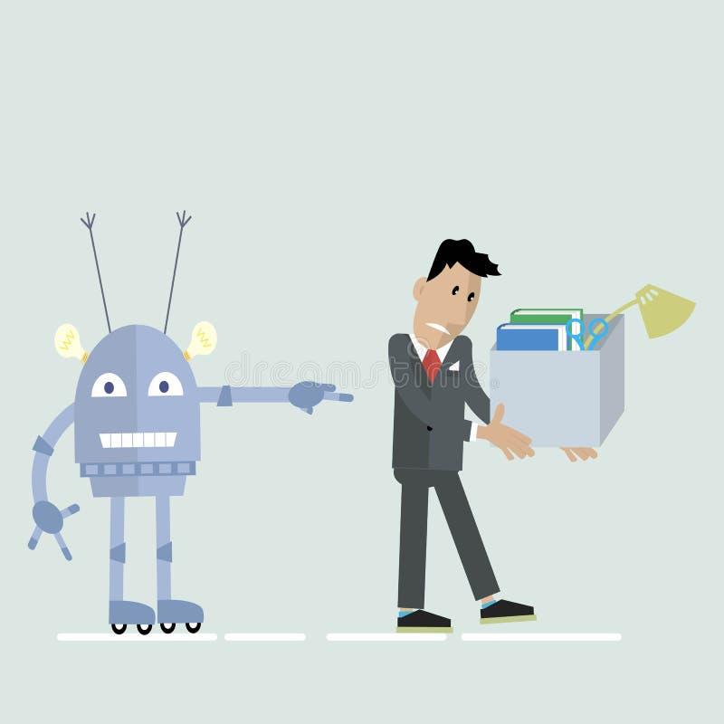 Robô contra o clipart do homem ilustração stock
