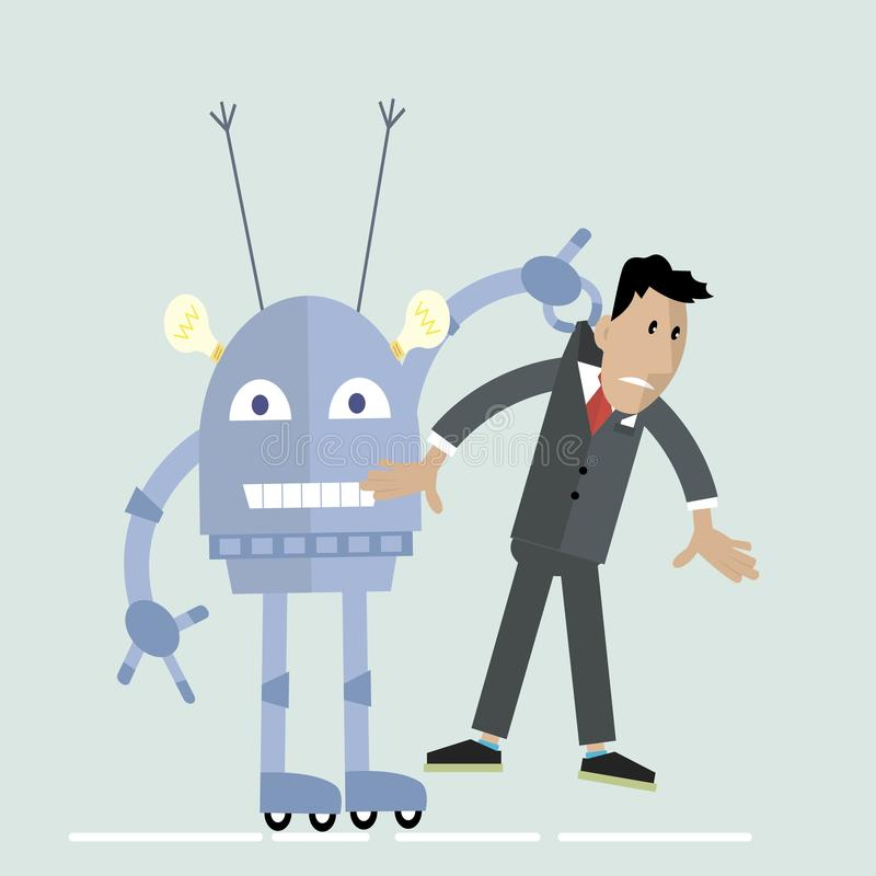 Robô contra o conceito do homem ilustração do vetor