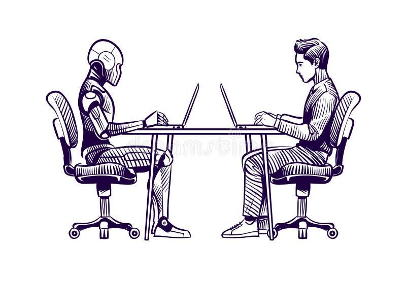 Robô contra o homem Trabalho humanoid humano do robô com os portáteis na mesa Inteligência artificial, esboço da substituição dos ilustração stock