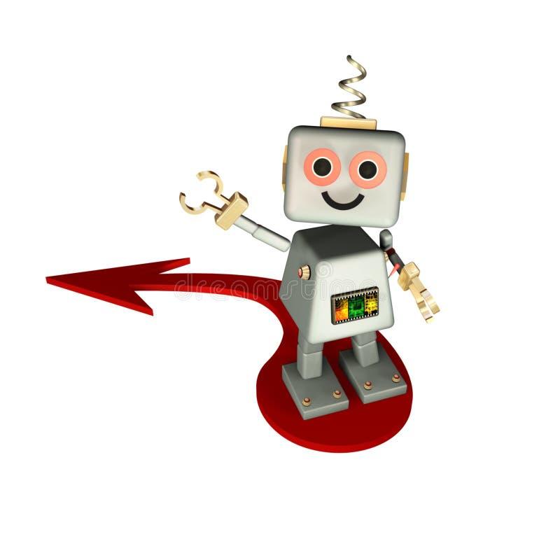 Robô da estratégia com seta ilustração stock
