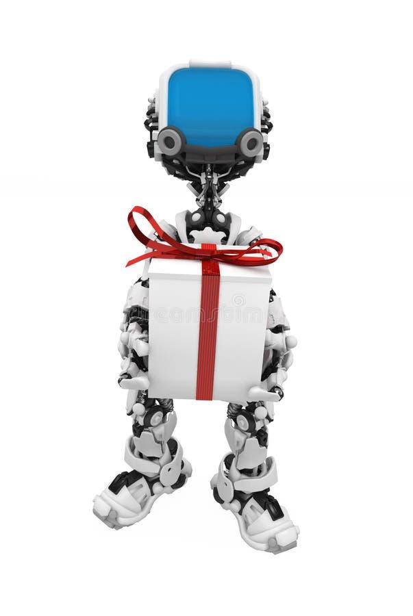 Robô da tela azul, parte dianteira do presente ilustração stock