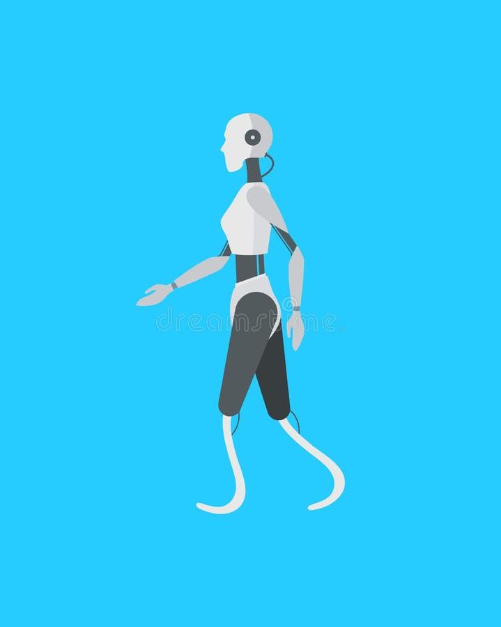 Robô de Android da cor dos desenhos animados em um azul Vetor ilustração stock