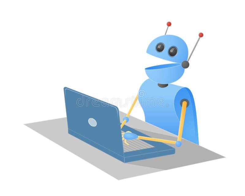 Robô de Chatbot que datilografa em um laptop que senta-se em uma mesa foto de stock royalty free