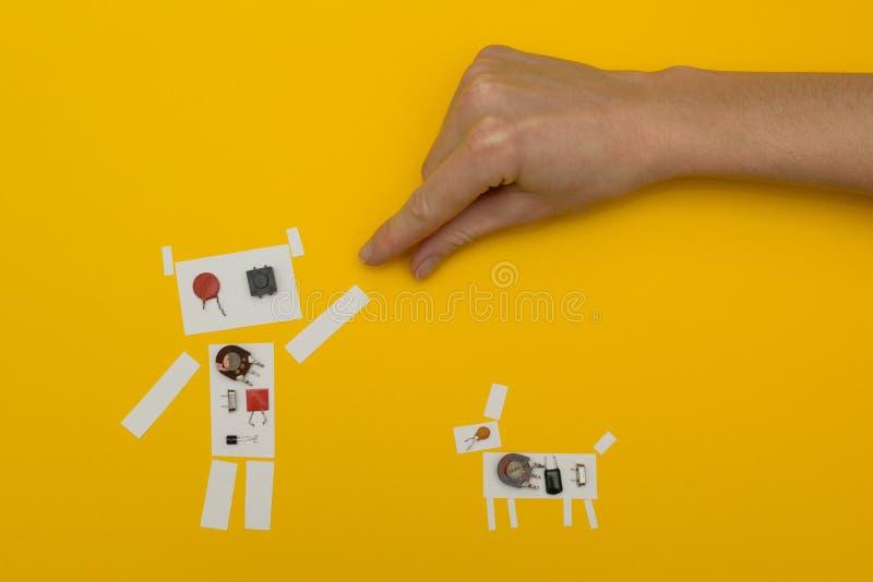 Robô de papel pequeno que guarda a mão de um homem ilustração do vetor