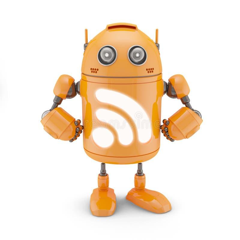 Robô do ícone do RSS ilustração royalty free