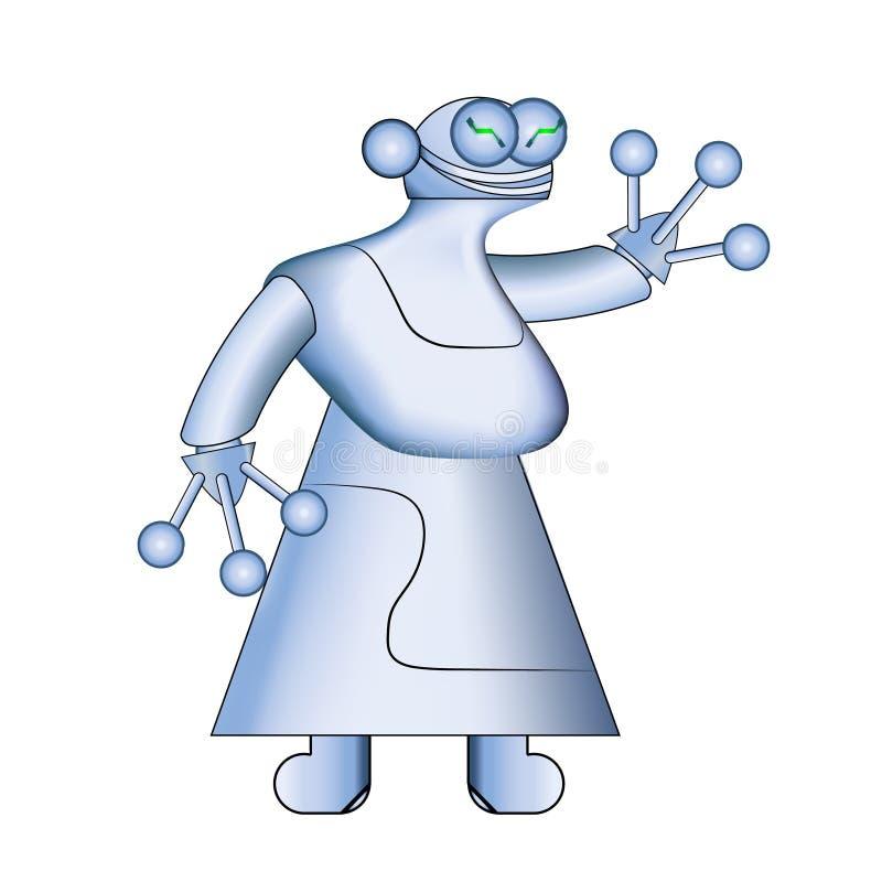 Robô do branco da mulher Robôs realísticos modernos Ilustração do vetor Assistentes nano Cybernetic As inovações futuristas integ ilustração royalty free