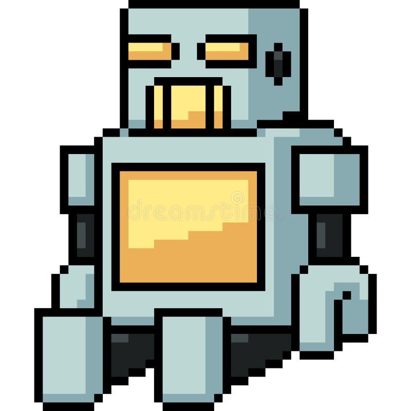 Robô do brinquedo da arte do pixel do vetor ilustração stock