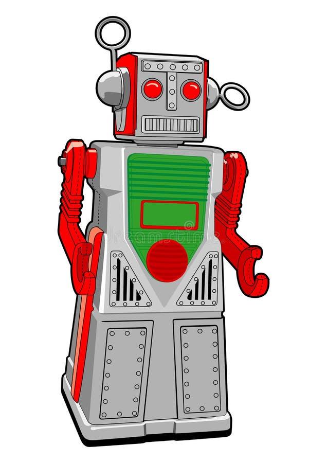 Robô do brinquedo do estanho no vetor foto de stock royalty free
