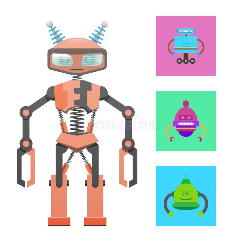 Robô do Humanoid, amostra da construção, bandeira da cor ilustração stock
