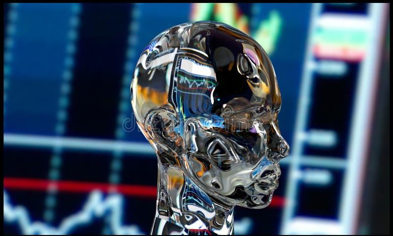 Robô do metal da inteligência artificial foto de stock
