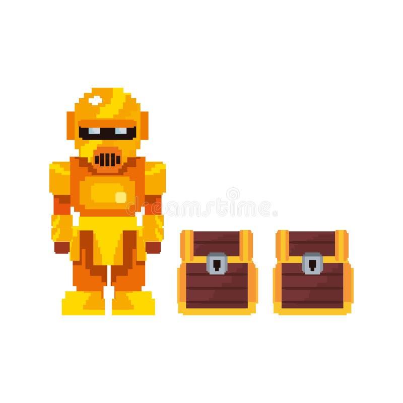 Robô do ouro do jogo de vídeo do pixel ilustração do vetor