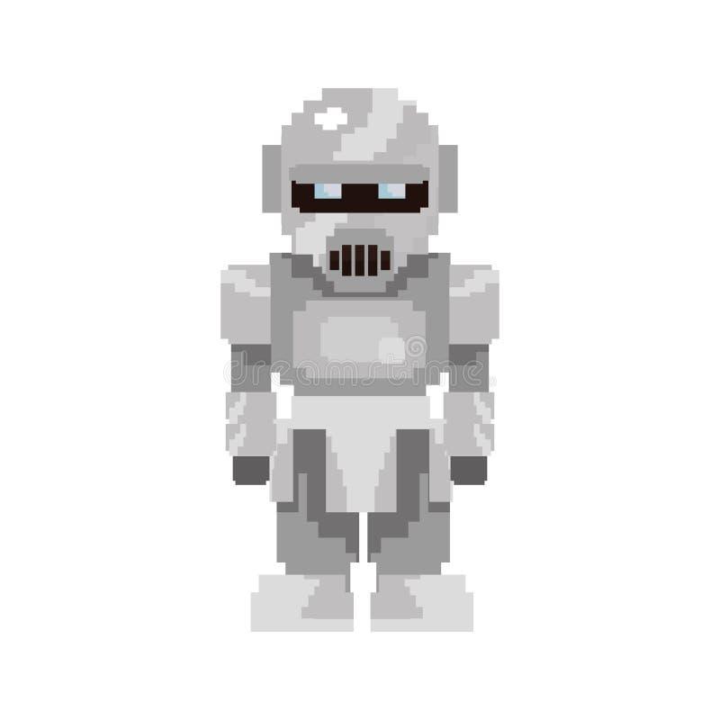 Robô do ouro do jogo de vídeo do pixel ilustração royalty free