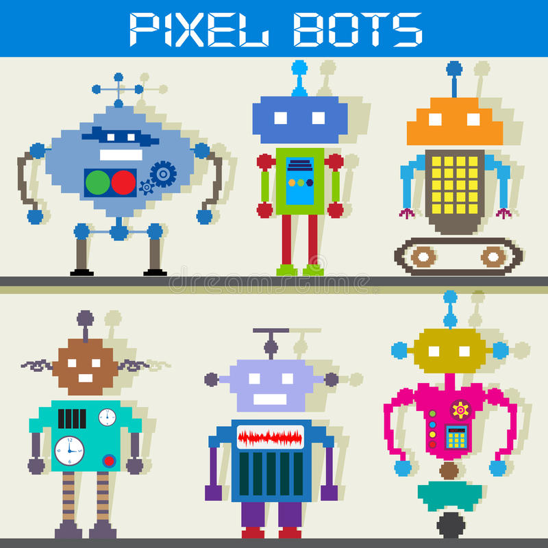 Robô do pixel ilustração do vetor