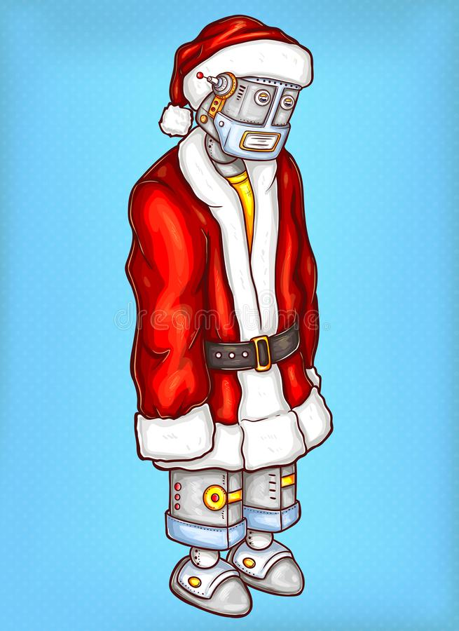 Robô do pop art do vetor no traje do Natal ilustração royalty free