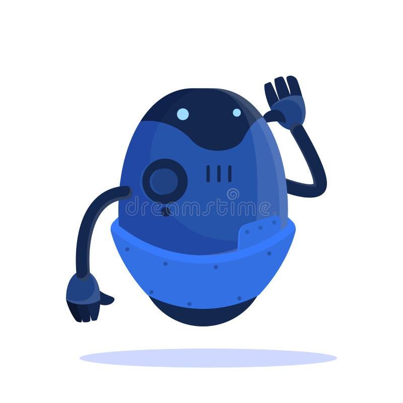 Robô do voo, caráter futurista da cor azul Ideia da automatiza??o ilustração royalty free