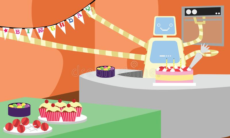 Robô doméstico que prepara o bolo e que decora a casa para a festa de anos ilustração stock