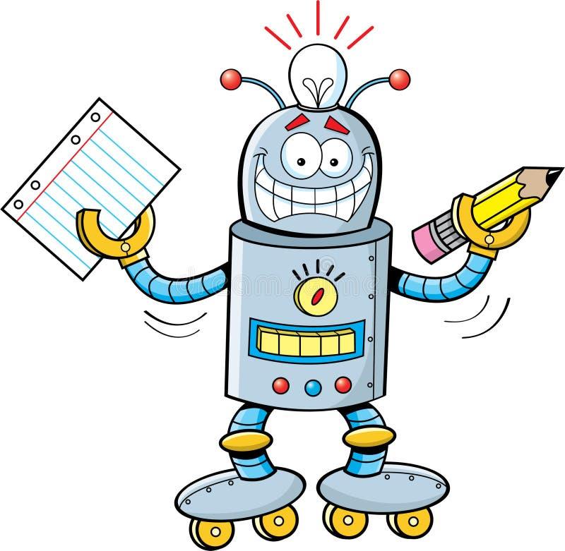 Robô dos desenhos animados que prende um papel e um lápis ilustração royalty free
