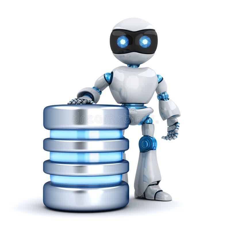 Robô e base de dados brancos ilustração royalty free