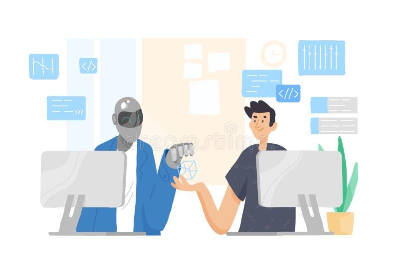 Robô e homem que sentam-se em computadores e que trabalham junto no escritório Cooperação, apoio e amizade entre o indivíduo e ilustração royalty free