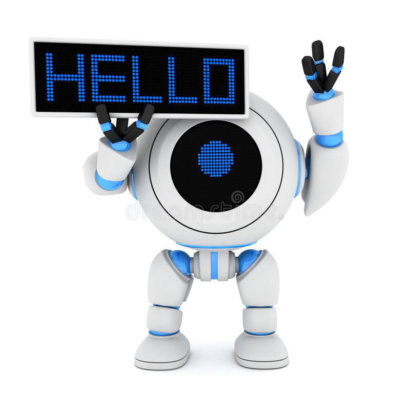 Robô e placa olá! ilustração stock