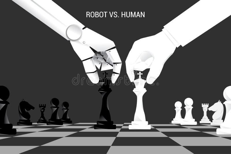 Robô e xadrez humana do movimento da mão a bordo ilustração do vetor