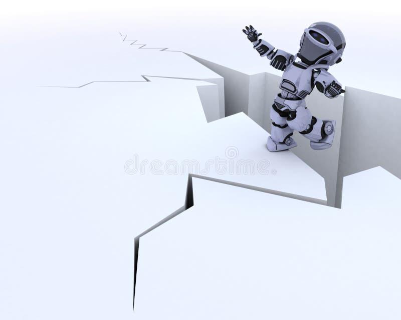 Robô em uma borda do penhasco ilustração do vetor