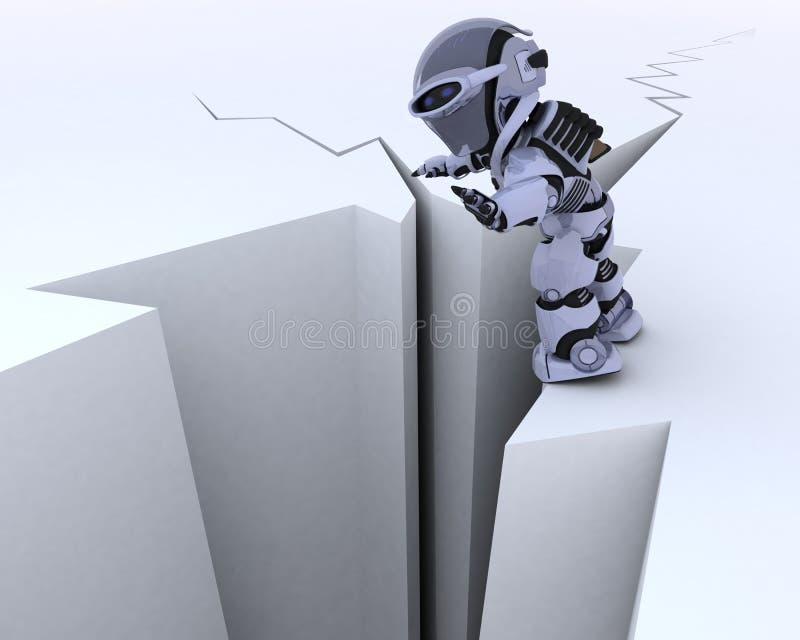 Robô em uma borda do penhasco ilustração stock