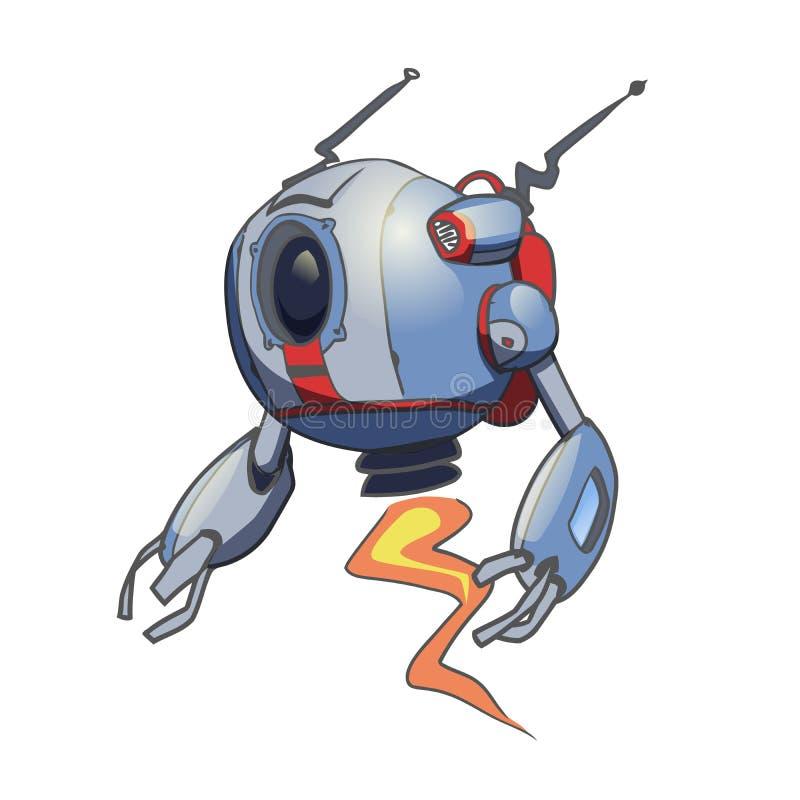 Robô esférico de voo Ilustração do vetor isolada no fundo branco ilustração stock