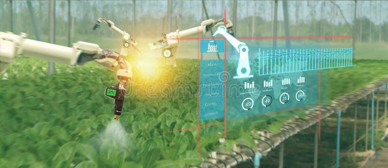 Robô esperto 4 da indústria de Iot 0 conceitos da agricultura, agrônomo, fazendeiro que usa vidros espertos aumentaram realidade  imagem de stock