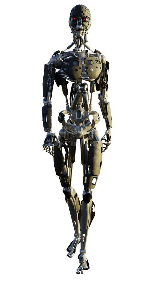 Robô esqueletal Humanoid que anda para a frente ilustração stock