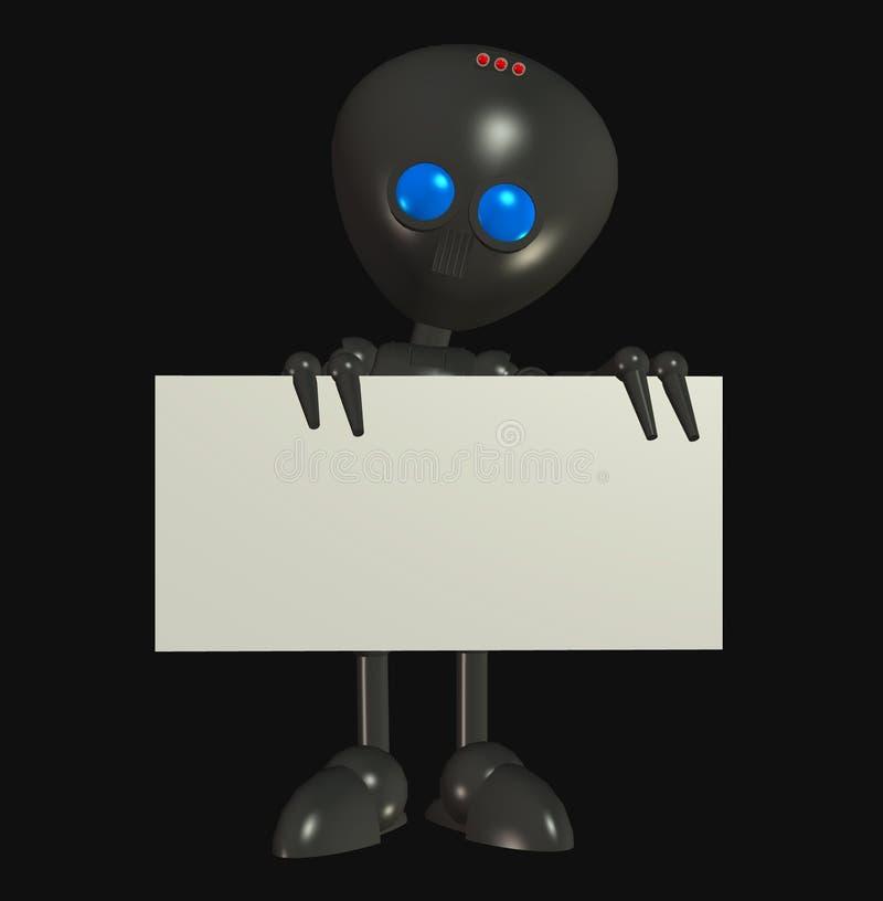 Robô estrangeiro com placa em branco do sinal ilustração royalty free
