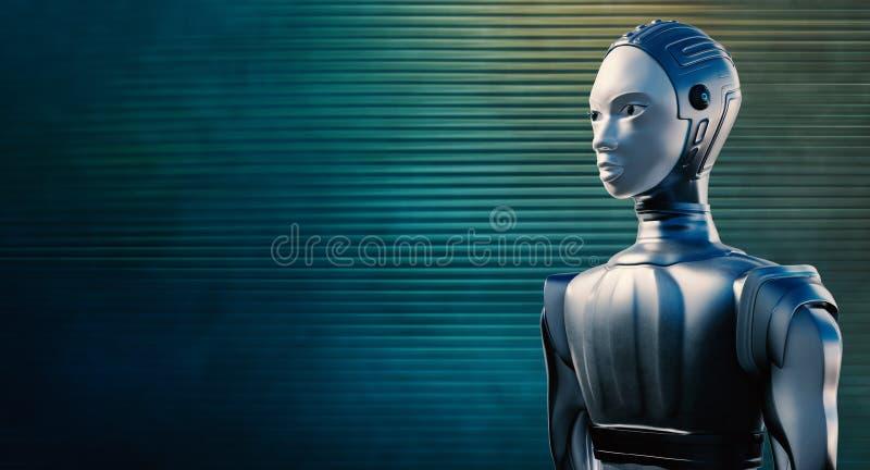 Robô fêmea contra o fundo azul reflexivo