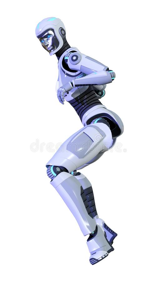 robô fêmea da rendição 3D isolado no fundo branco ilustração royalty free