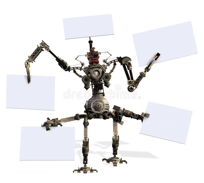Robô gigante com sinais em branco - inclui o trajeto de grampeamento ilustração royalty free