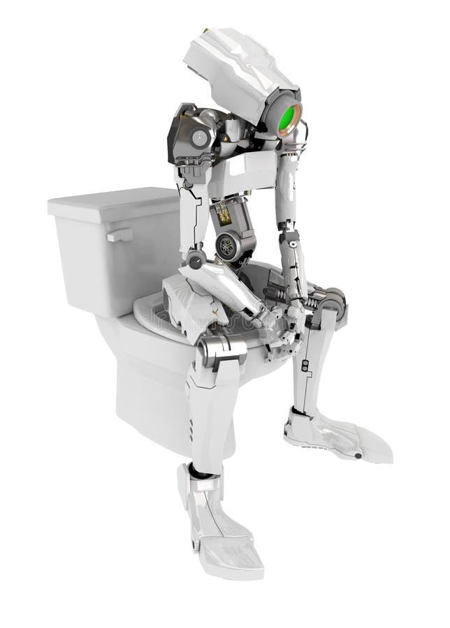Robô magro, toalete ilustração do vetor