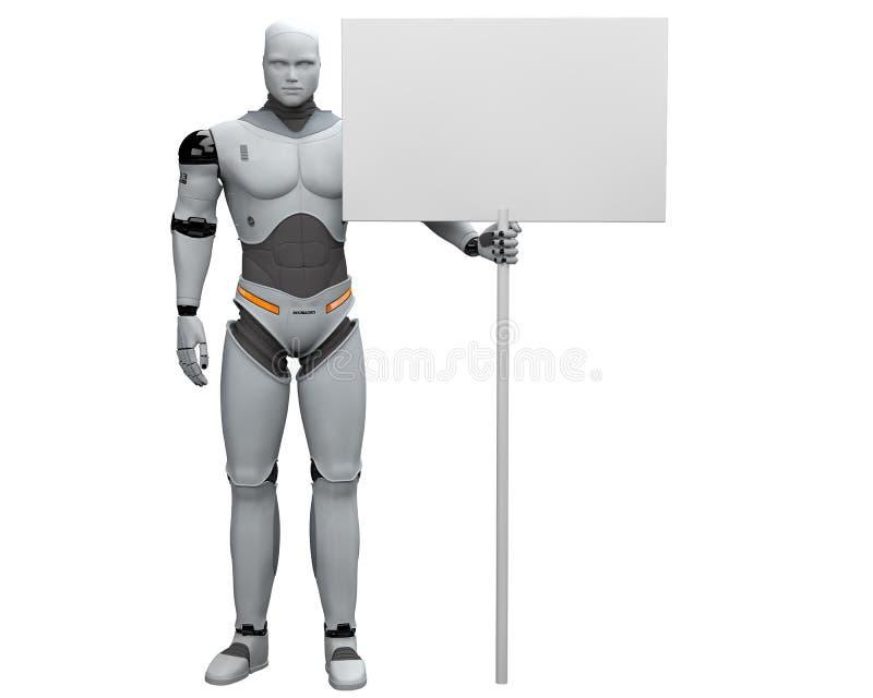 Robô masculino com grande sinal vazio votado ilustração do vetor