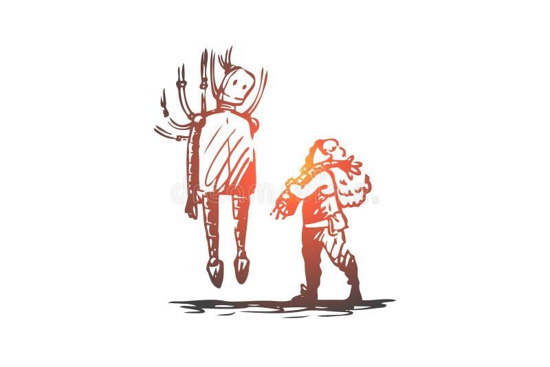 Robô, menino, reparo, máquina, conceito moderno Vetor isolado tirado m?o ilustração stock