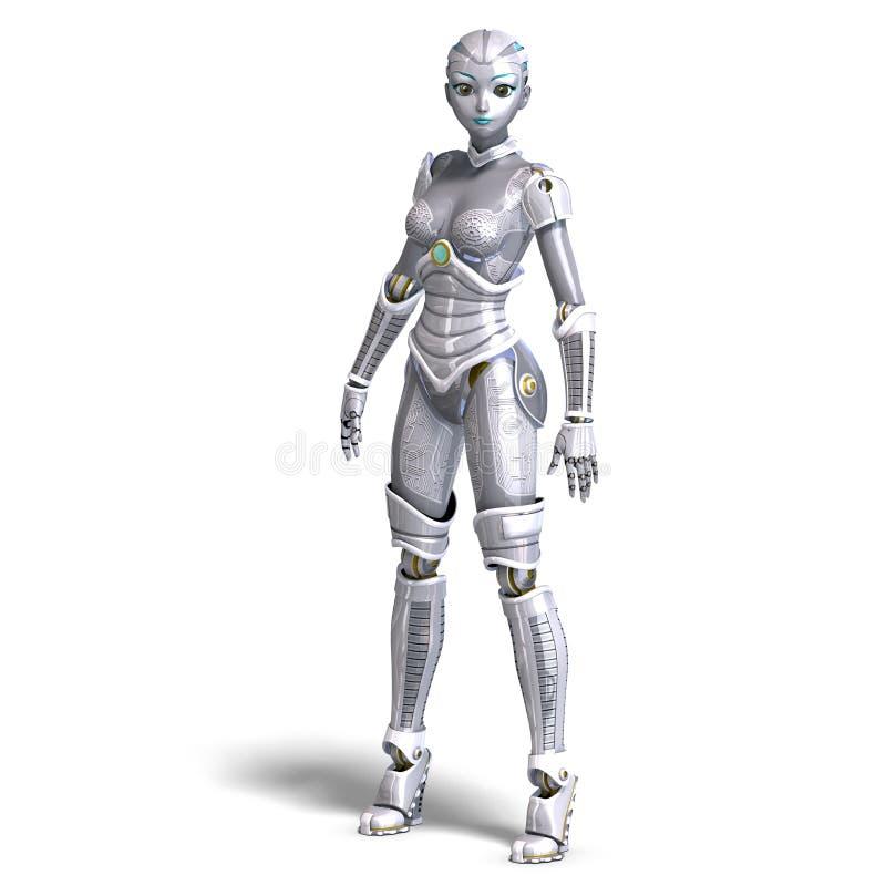 Robô metálico 'sexy' fêmea. rendição 3D com ilustração do vetor