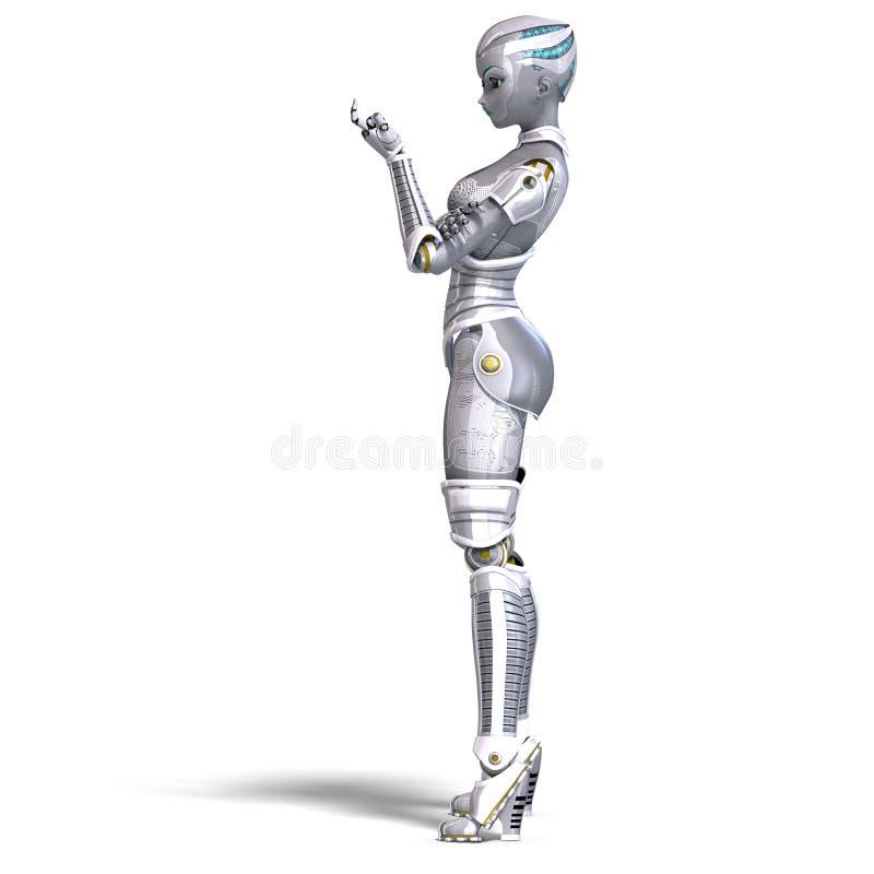 Robô metálico 'sexy' fêmea. rendição 3D com ilustração stock