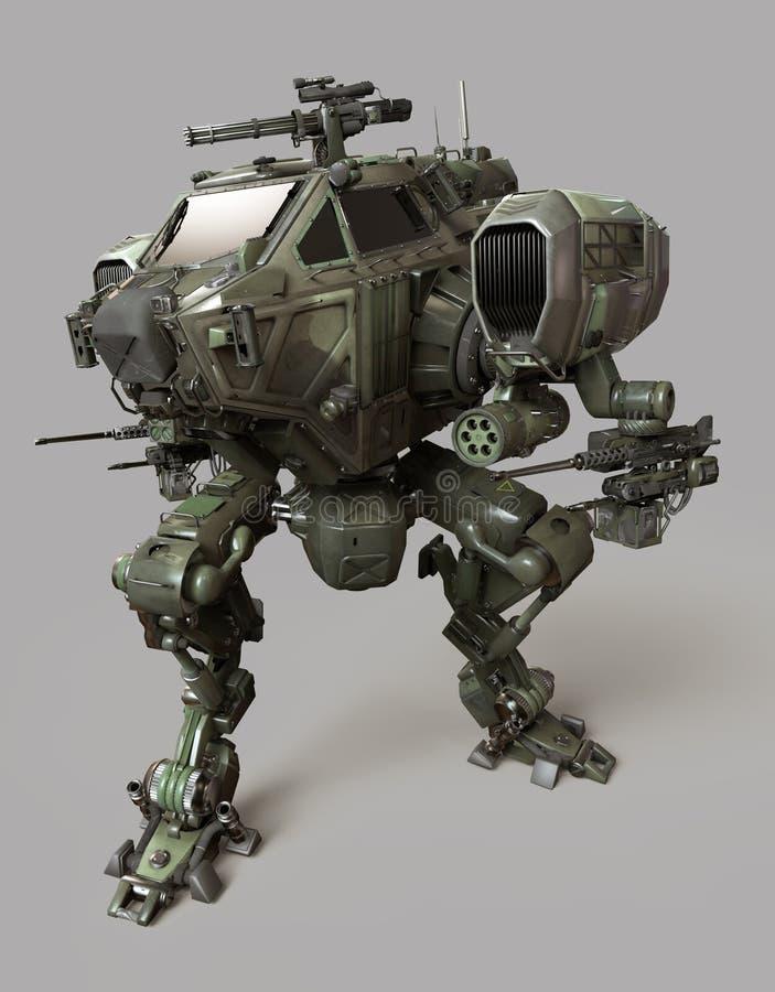 Robô militar ilustração 3d isolada no fundo cinzento ilustração do vetor