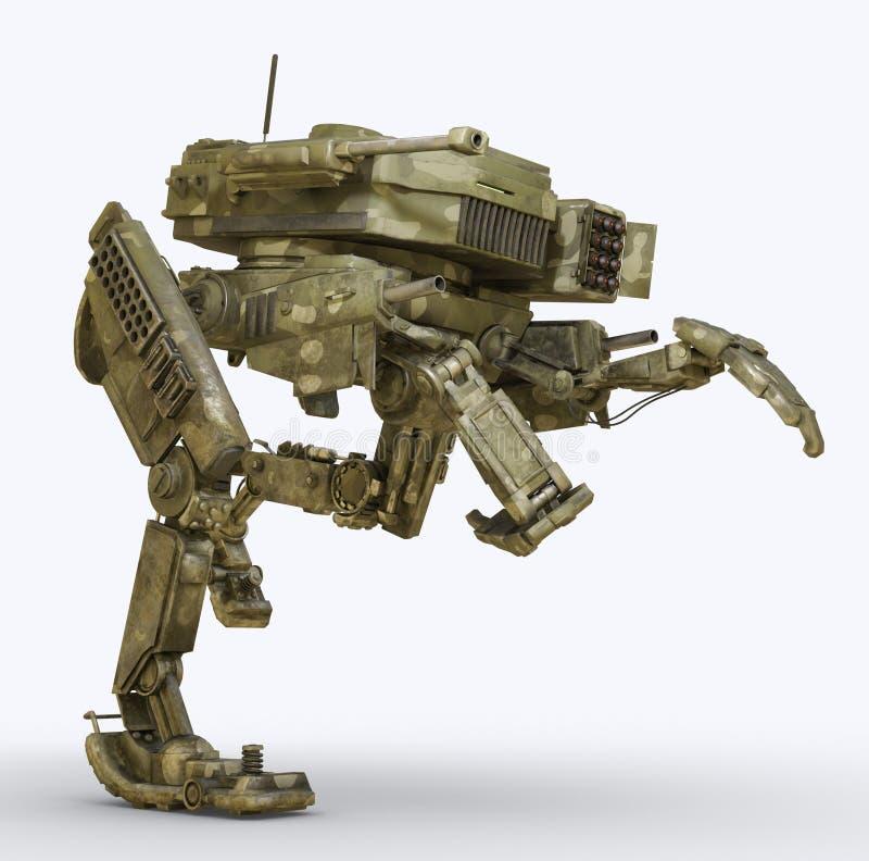 Robô militar isolado na ilustração branca do fundo 3d ilustração stock