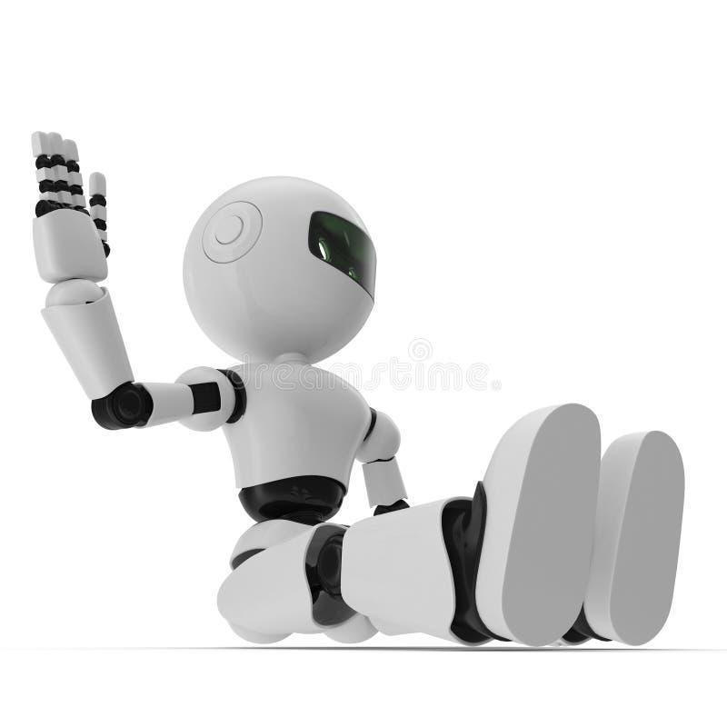 Robô moderno ilustração 3D isolada no fundo branco ilustração do vetor