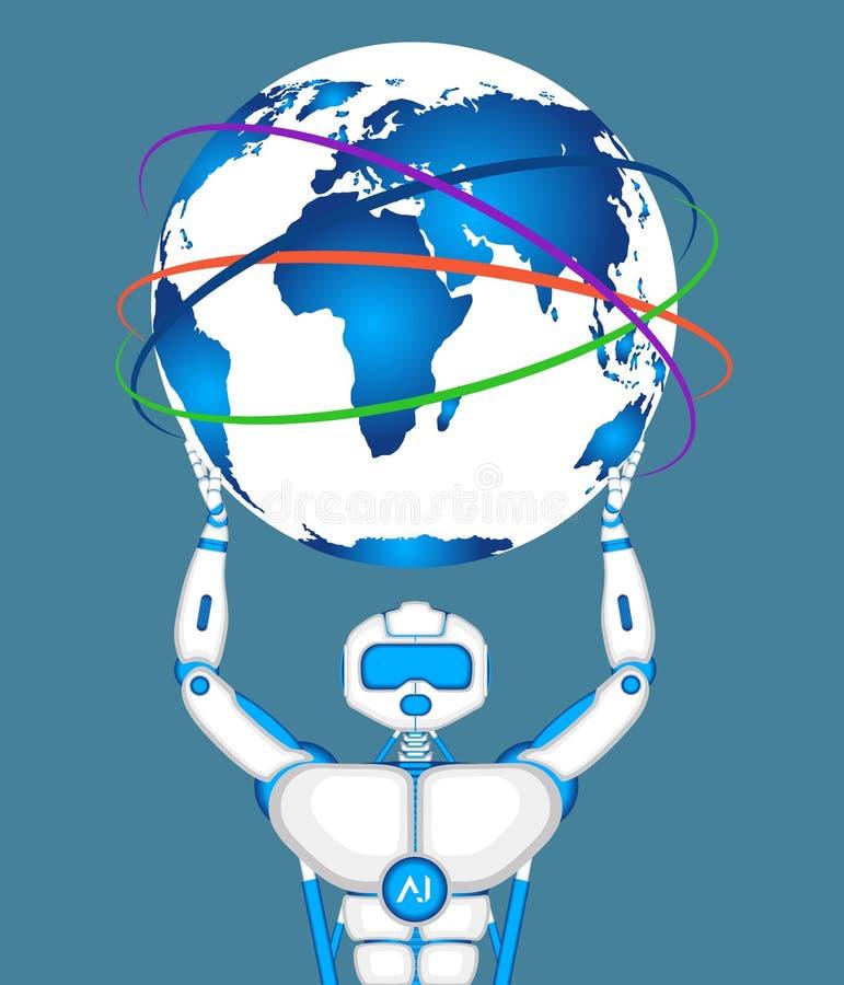 Robô moderno que guarda o globo do mundo ilustração royalty free