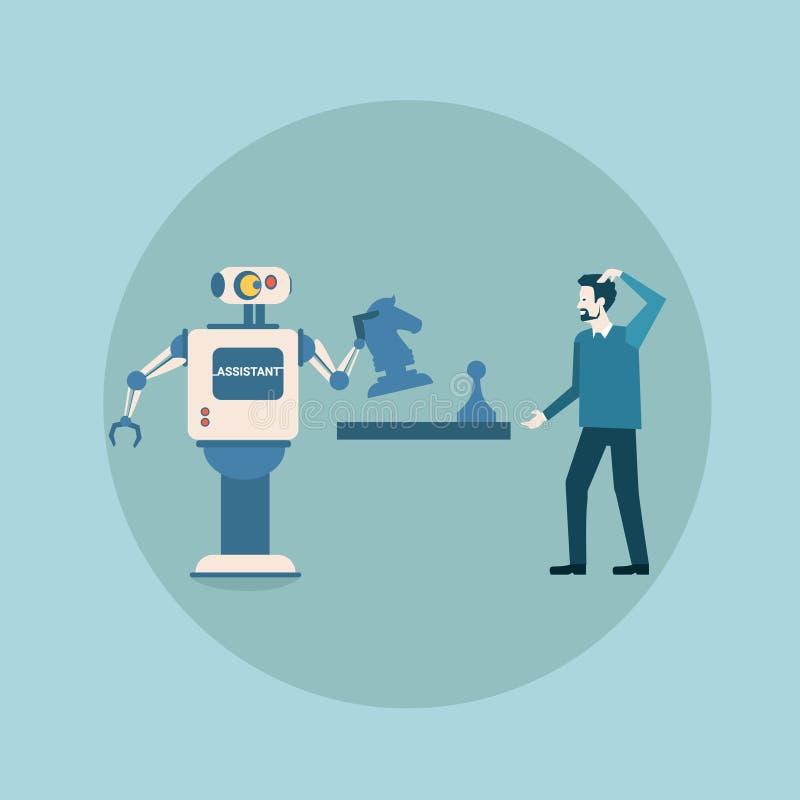 Robô moderno que joga a xadrez com tecnologia futurista do mecanismo da inteligência artificial do conceito do homem ilustração stock