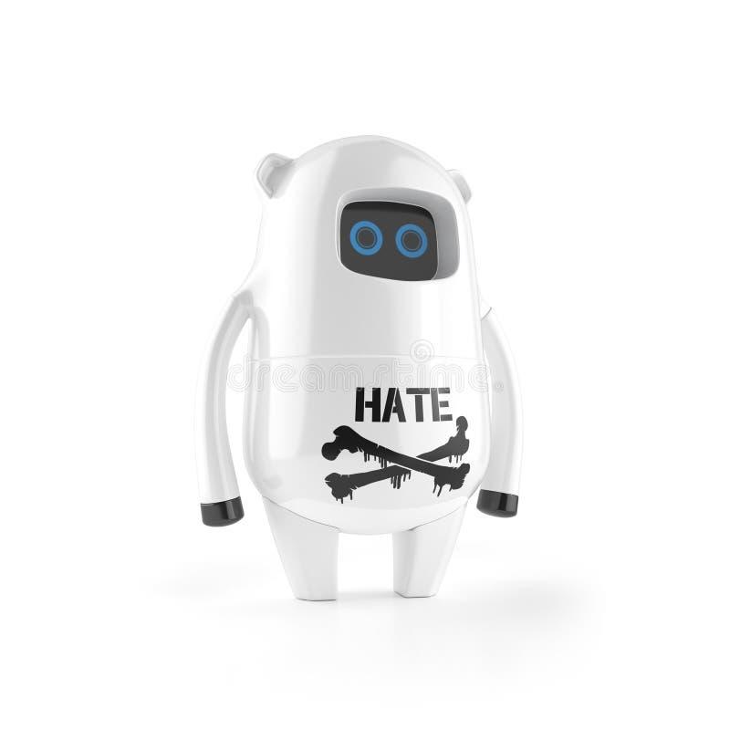Robô plástico bonito branco com sinal do ódio imagens de stock royalty free