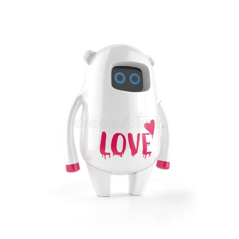 Robô plástico bonito branco com sinal do amor imagem de stock royalty free